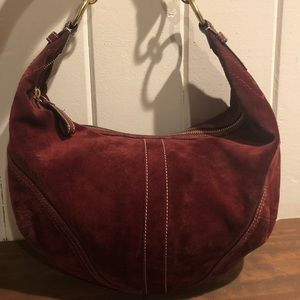 Coach Burgundy Split Suede Shoulder Bag